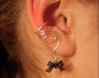 Earcuffs, Ear Wraps, Pair of Silver Ear Cuffs with Black Bow Charms, non pierced Earring alternative