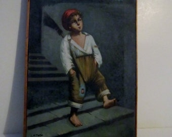 Antique Oil on Canvas 1932 Peasant Boy by G.A. Mellor Listed Artist Original Art Child