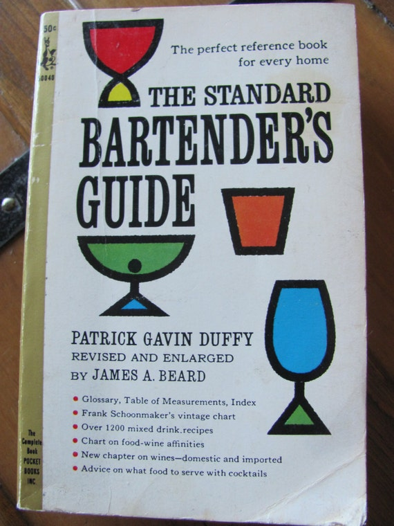 """Vintage Mid-Century """"The Standard Bartender's Guide"""", Cocktail Book"""