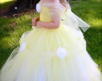 Princess Belle, Beauty and the Beast Tutu Dress sizes12-18m, 18-24m, 2t, 3t, 4t, 5t, 6