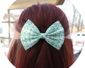 Paige Hair Bow -White with Green Floral Pattern Hair Bow with Clip