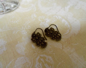 Traditional, Woodland, Brass Owl Dangle/Drop Earrings and a French Ear Loop with Shell Design