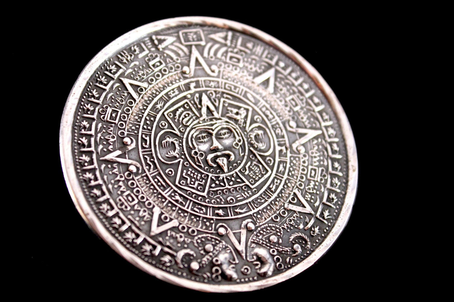 Items similar to sale huge aztec silver mayan calendar pendant brooch