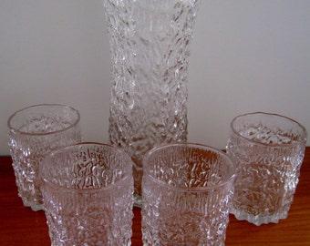 Pukeberg Sweden  juice pitcher and tumblers vintage scandinavian glass