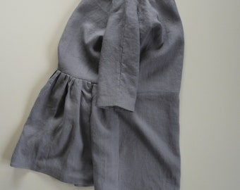 linen dress with gathered back