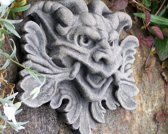 Grotesque, Garden Goblin, mythological green man, wall decor, cast stone, architectural detail