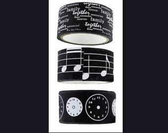 Ribbon Twill Washi Tape Self Adhesive  Music Clock Family Love Together Set of 3