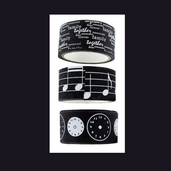 Ribbon Twill Washi Tape Self Adhesive  Music Clock Family Love Together Set of 3