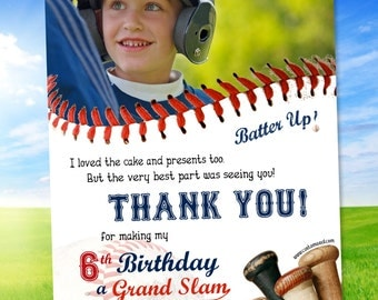 Baseball THANK YOU Card - PERSONALIZED with name and photo - printable or prints
