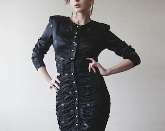Black fitted vintage designer skirt suit dress