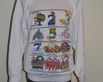 The 12 Days of Christmas // RARE UGLY CHRISTMAS Sweater 80's Sweatshirt White Green Yellow Red Blue Size M Holiday Tultex