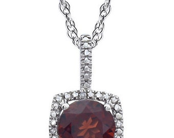 Gorgeous Garnet & Diamond Halo Necklace, January Birthstones, Valentines Day Gift