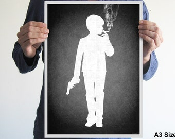 Boy smoking and holding a gun poster, print ,black and white, goth, dark art, funny, original, gift