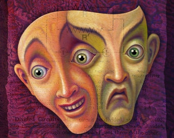 Weird face art print 8x8, Mr. Duality: Divided face or mask, Happy sad face, Emotional painting, Two-faced oddity curiosity, Halloween mask