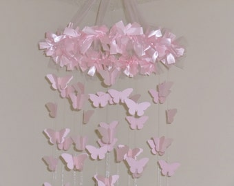 Pink Chandelier Butterfly Mobile