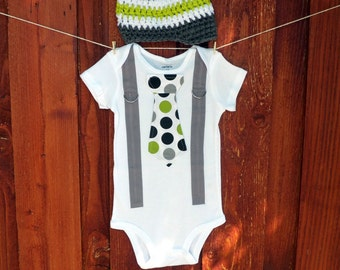 GET THE SET - Polka Dot Neck Boy Tie Bodysuit or T-Shirt with Suspenders and Crocheted Hat