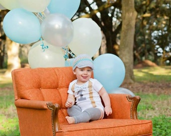 Baby Boy First Birthday Outfit - Boys Birthday Bodysuit with Matching Hat and Leggings - Cakesmash