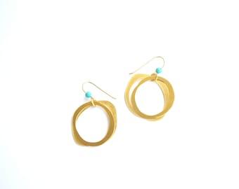Circle earrings, Hoop earrings, Dangle & Drop Earrings, Gold earrings, Minimal Earrings, Handmade jewelry, Earrings
