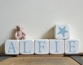 6 Personalised wooden NAME blocks SET OF 6 other amounts available Choice of children's name or message