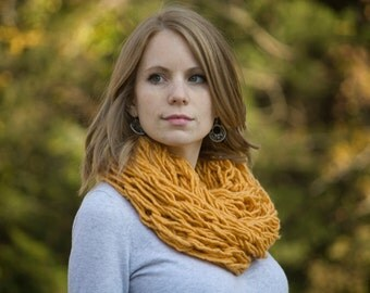 Butternut Squash Infinity Scarf, Arm Knit Scarf in Light Orange
