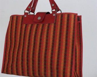 Vintage Red Orange and Black Plaid Square Checkered Market Bag Tote