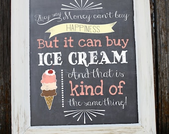 Ice Cream and Happiness Print - INSTANT DOWNLOAD - PDF - Chalkboard- Home Decor
