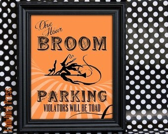 Printable Halloween Decoration - One Hour Broom Parking - Witch - Instant Download