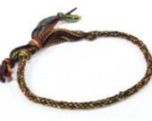 Kumihimo Bracelet Mens Jewelry Merino Wool Soft Fiber Green Tones Fall Autumn Jewelry