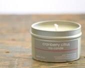 Cranberry Citrus Soy Candle Tin 4 oz. - cranberry soy candle - citrus soy candle - fall soy candle - holiday soy candle - fall fruit candle