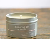Gingerbread Soy Candle Tin 4 oz. - gingerbread candle - holiday candle - fall candle - cookie candle - food candle - bakery candle
