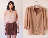 80's Light Ballet Pink Pinstripe Oriental Button Up Three Quarter Sleeve Mandarin Collar Blouse