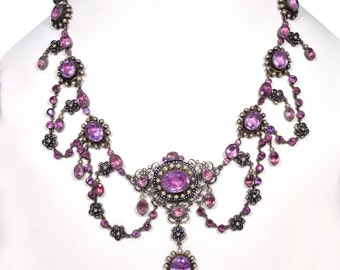 Antique Georgian Amethyst & Natural Seed Pearl Necklace