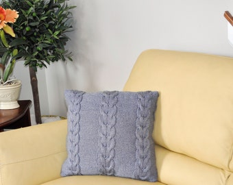 Blue Gray Pillow Cover 16 x 16 Square Pillow Case Handknit with Cable Pattern