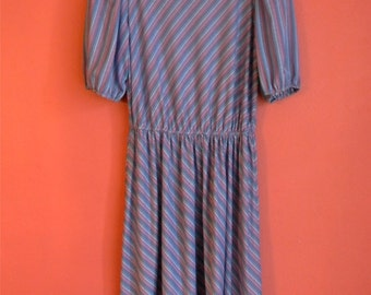 S M Vintage 70s 80s Purple Pink Blue Green Asymmetrical Striped Puffed Sleeves Elastic Waist Hipster Indie Alternative Small Medium Dress