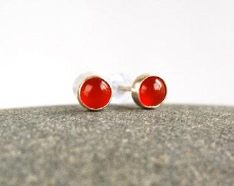 Carnelian Gemstone Stud Earrings - Sterling Silver Orange Stone Post Earrings