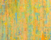 Large Abstract Acrylic Art Painting on Canvas, Impressionistic, Orange, Yellow, Blue, Titled:  Summer Shower, 24 x 30 by Sarah Ettinger