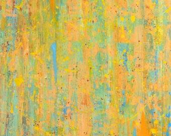 SALE Large Abstract Acrylic Art Painting on Canvas, Impressionistic, Orange, Yellow, Blue, Titled:  Summer Shower, 24 x 30 by Sarah Ettinger
