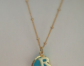 Tiny Gold Initial with Glass Birthstone Charm