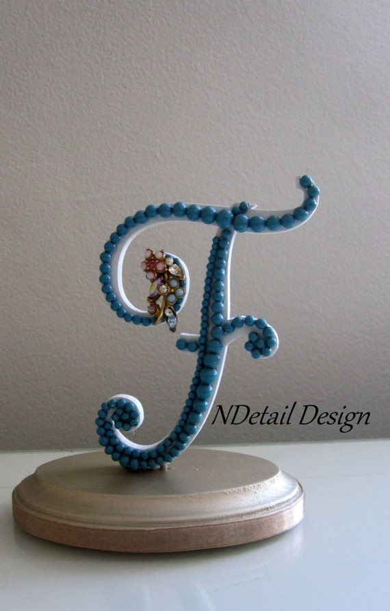 Cake Toppers Letters : Wedding Cake Topper: Monogram Letter F Ready to by ...