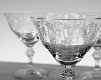 Vintage Ornate Pressed Glass Stemware: Set of 5 // Great Gatsby