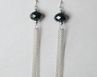 Chain tassel earrings (pick a color) - Swarovski crystal earrings - long earrings - silver tassel multi chain - sexy jewelry - coquette