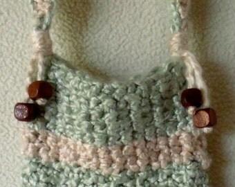 Cell Phone/Camera Crossbody Mini Purse/Holder- Crochet with Eco-Soft Bamboo Yarn-Sage/ Peach