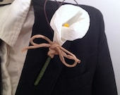 Boutonniere, White or Yellow Calla Lily Wedding Lapel Pin, Crepe Paper Flowers, rustic theme