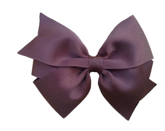 4 inch brown hair bow - brown bow, toddler bows, pinwheel bows, girls hair bows, girls bows, hair clips, brown hair bows, hair bows, bows