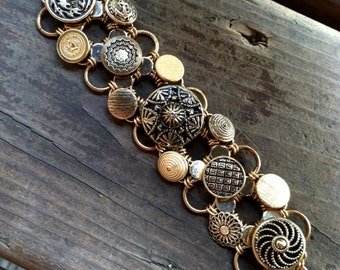 Gold-Tone Button Bracelet