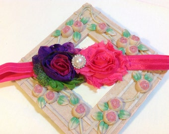 Neon Purple and Hot Pink Shabby Chic Flowers on an Hot Pink Headband with Rhinestone/Pearl Embellishment, Infant to Adult