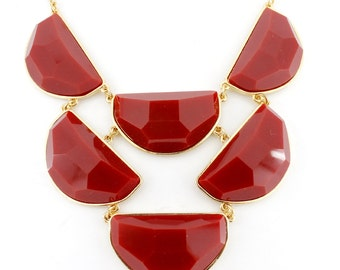 Gorgeous Gold-tone Red Moon Shape Stone Funky Statement Necklace