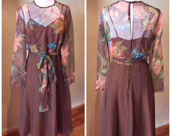 Vintage 70s does 40s Brown Chiffon Sleeve Dress