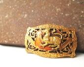 Vintage lion tiger brass belt buckle (rare)
