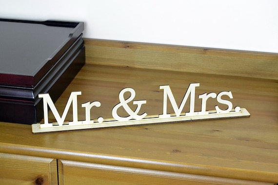 Mr & Mrs Wood Word Sign / Wedding / Freestanding Home Decor